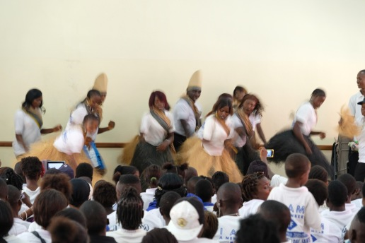 Dauda Town performs a native dance