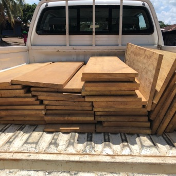 Moving the heavy hardwood boards from Carpenter shop 1 to welding shop 3